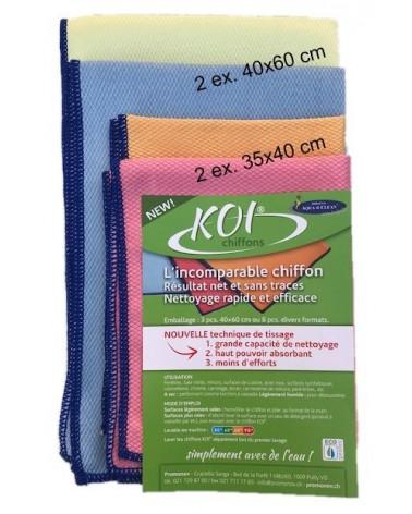 KOI set de 4 chiffons 2 pces 60x40 cm.2 pces 45x33cm.